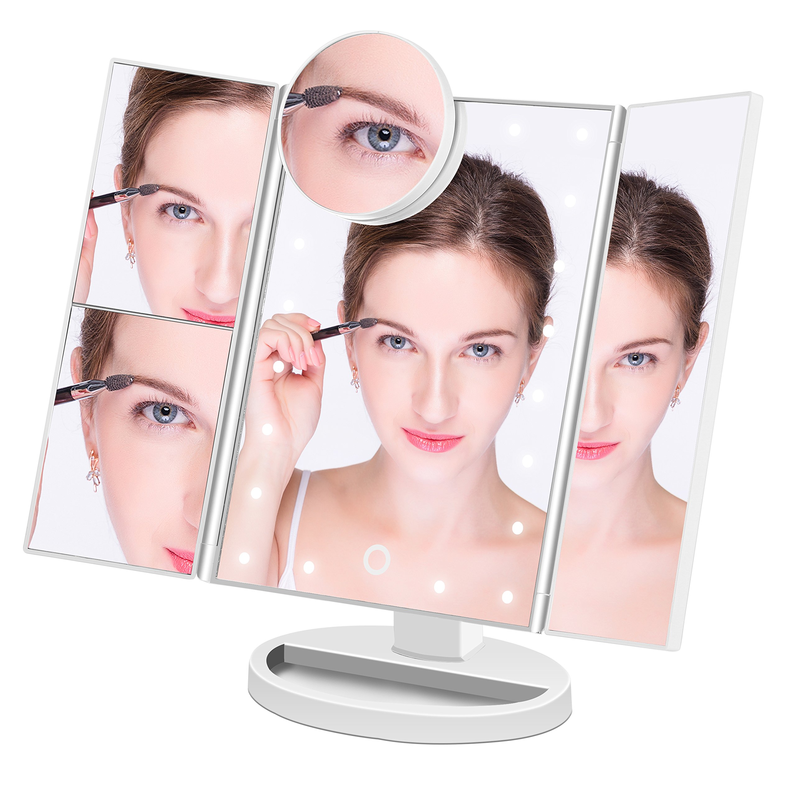 Makeup Mirror Lighted Makeup Vanity Mirror with 21 LED Lights, 3X/2X Magnification and Detachable 10X Magnifying Mirror,Tri-flod LED Makeup Mirror with Touch Screen (White)