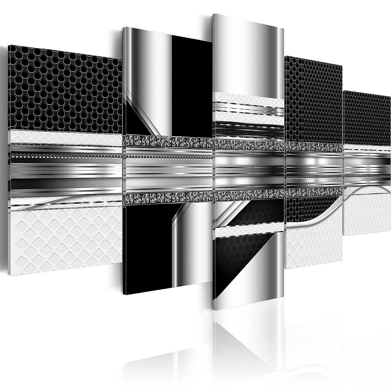 murando - Impression sur toile - 100x50 cm - 5 pieces - Image sur toile - Images - Photo - Tableau - motif moderne - Décoration - tendu sur chassis - Digital abstraction abstrait noir a-A-0184-b-n