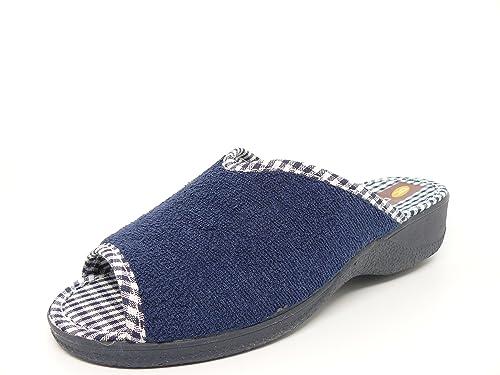 Zapatilla Chinela Mujer para Andar por casa en Tejido Rizo Toalla Azul Marino DOCTOR CUTILLAS Abierta Puntera y Talon- 21703-47: Amazon.es: Zapatos y ...