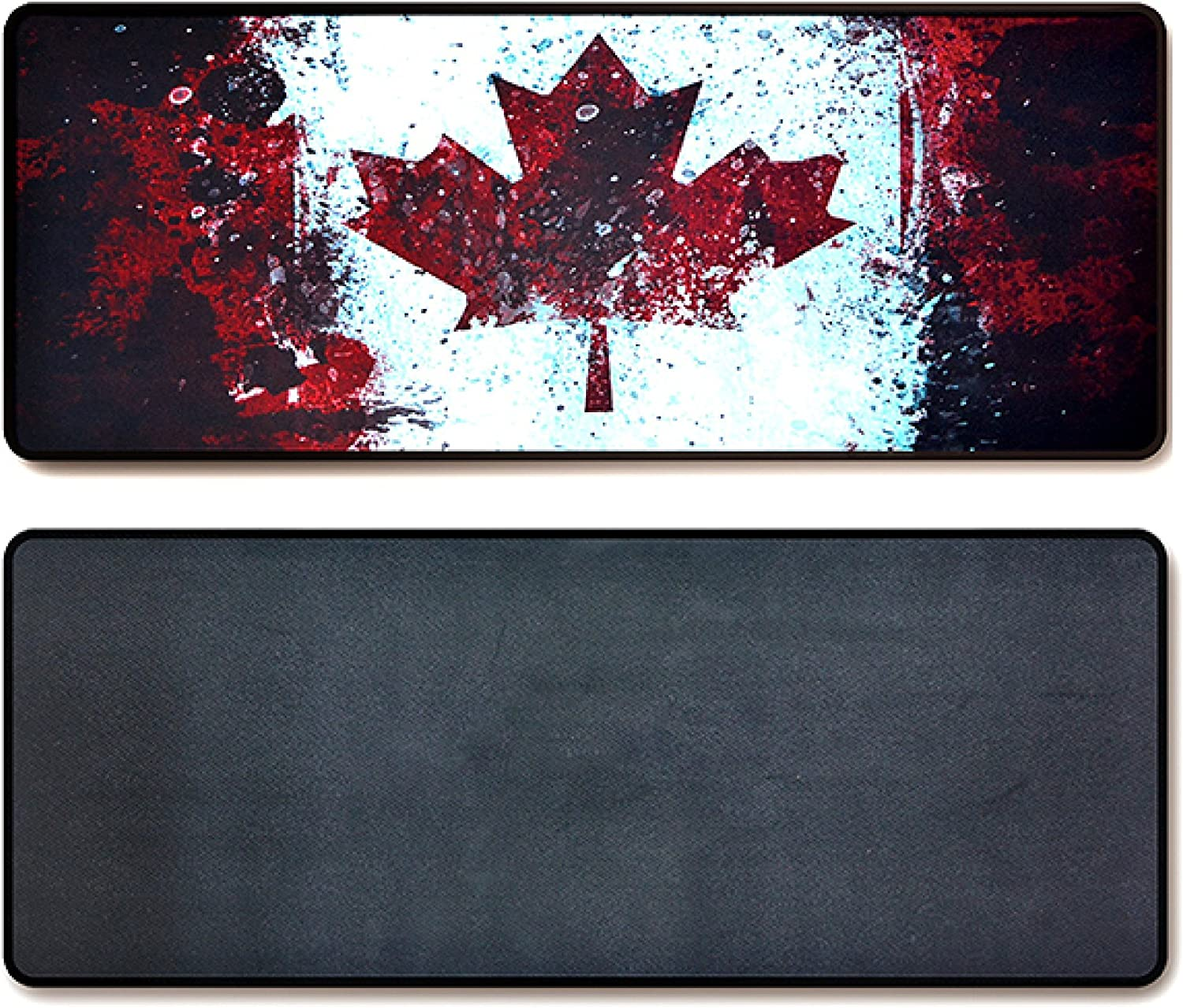Large Gaming Mouse Pad & Desk Keyboard Mat Extended XXL Size, Heavy Thick, Soft for Desktop, Laptop, Keyboard, Vintage Retro Style with Stitched Edges, Non-Slip Rubber Base (Canadian Flag)
