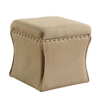 Kinfine Cinched Curve Square Storage Ottoman With Nailhead Trim, Tan