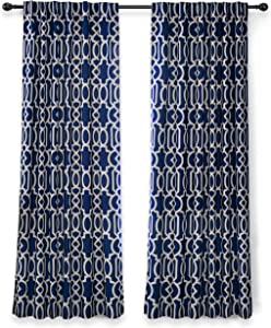 DriftAway Abigail Trellis Lined Blackout and Thermal Insulated Window Curtain Set of 2 Panels Back Tabs 52 Inch by 84 Inch Navy