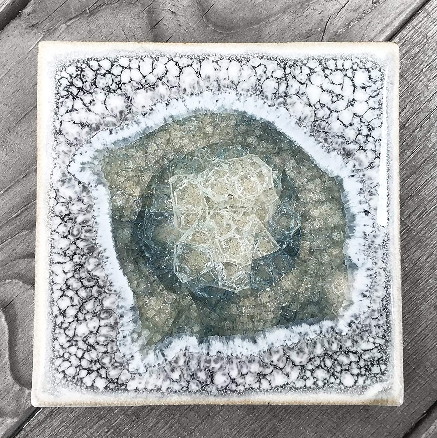 Kerry Brooks Pottery Individual Coaster Dock 6 Pottery Agate Coaster Geode Coaster Dock 6 Pottery Coaster Fused Glass Coaster Crackle Glass Coaster Geode Crackle Coaster in Brick