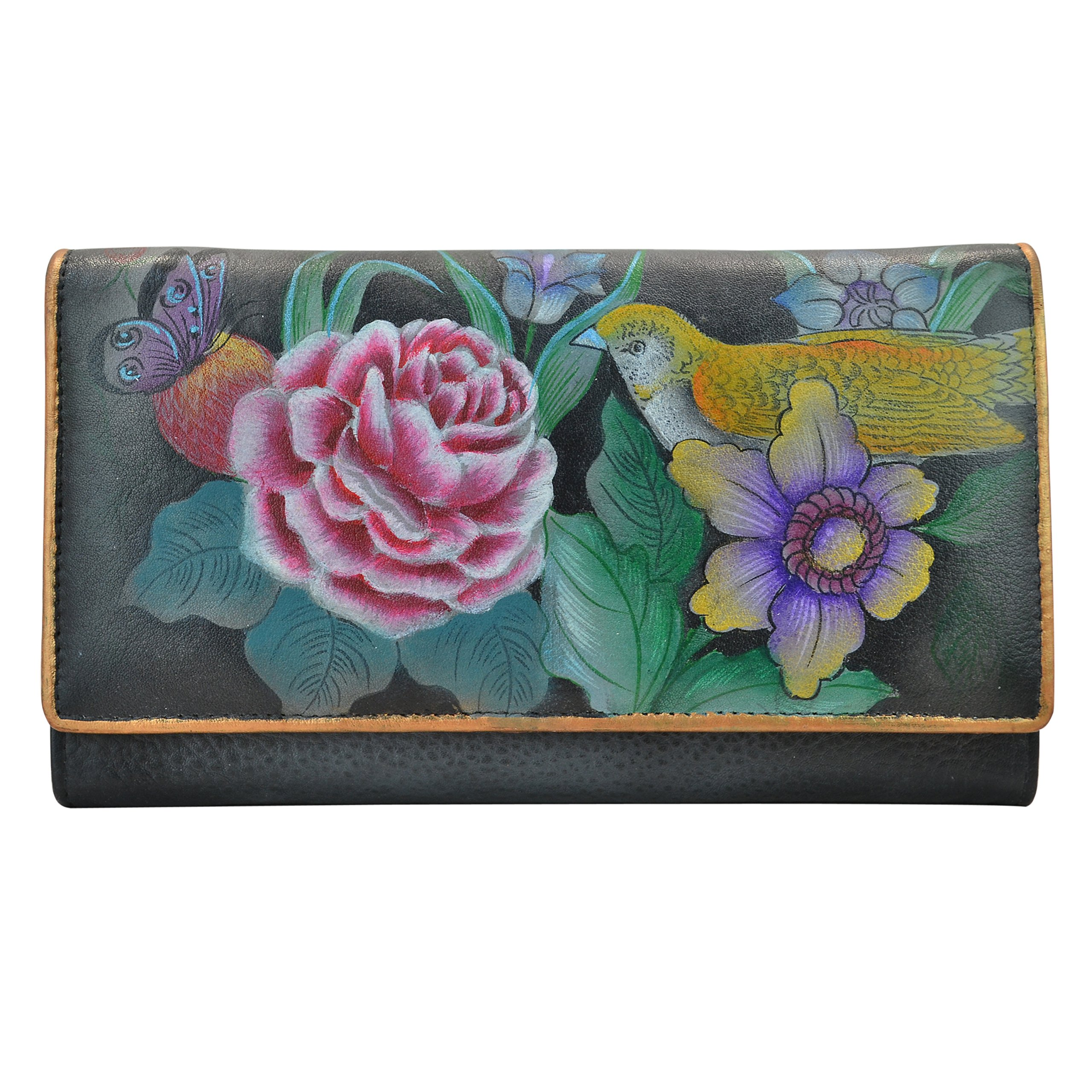 Anuschka Hand Painted Rfid Blocking Two Fold French Wallet Vintage Bouquet, One Size