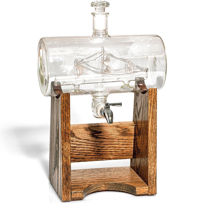 /de whisky Bourbon - Decantador Dispensador de licor, vodka, Rum, decantador de vino, Tequila o enjuague bucal - 1150 ml, cristal con espiga de acero ...