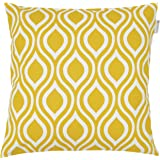 JinStyles Ogee Cotton Canvas Decorative Throw Pillow Cover (White and Yellow, 18 x 18 inches)