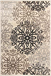 SUPERIOR Contemporary Leigh Collection Area Rug -Modern Area Rug, 8 mm Pile, Floral Medallion Design with Jute Backing, Beige, 3' x 5'