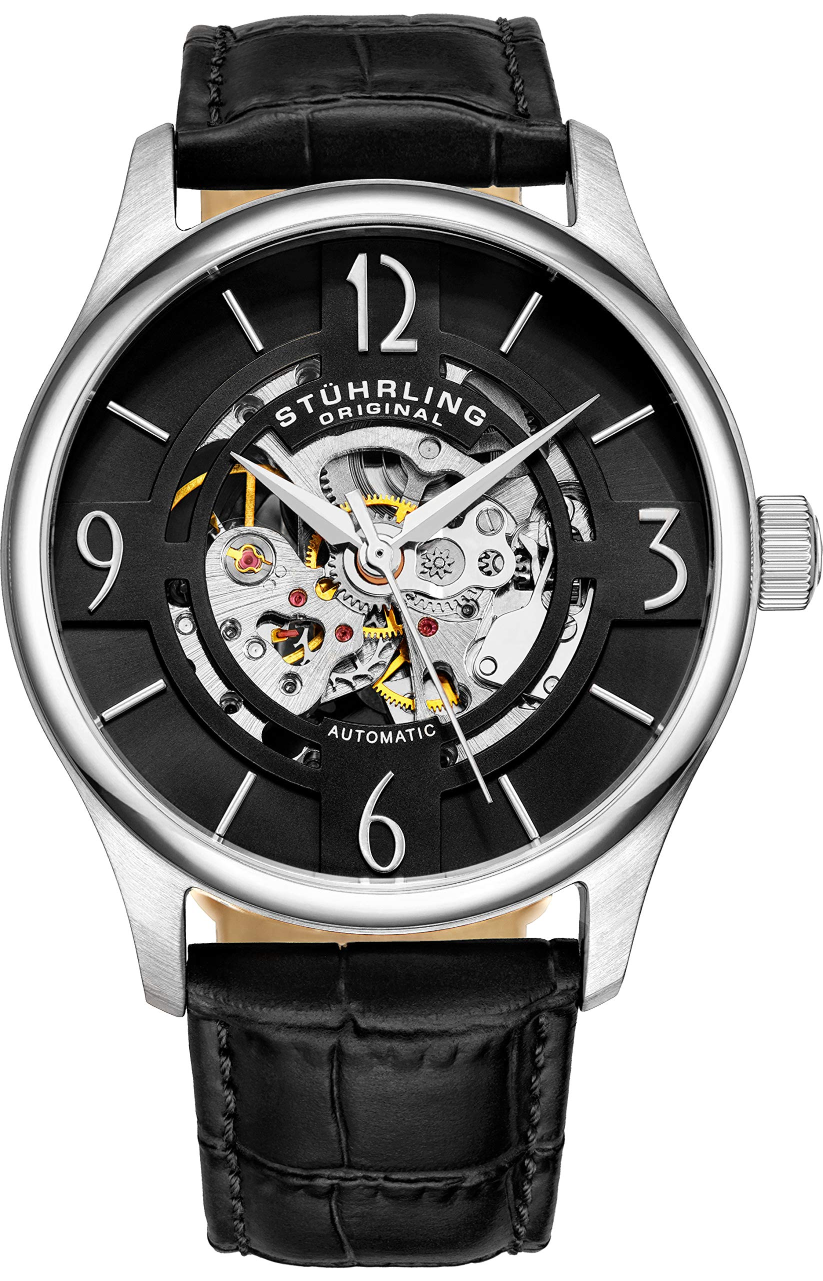 Stuhrling Original Mens''Specialty Atrium'' Skeleton Automatic Self Winding Dress Watch with Premium Leather Band by Stuhrling Original (Image #2)