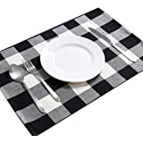 DOLOPL Placemats Buffalo Check Black and Off White Placemats Set of 6 Easy to Clean Machine Washable Heat Resistant Farmhouse