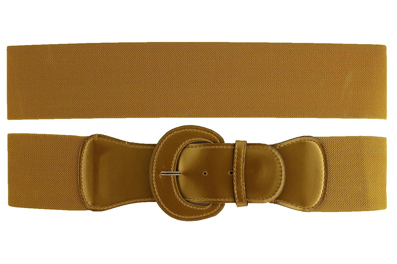 TFJ Women's Belt Hip Elastic High Waist Big Round Buckle Xs Small Metallic Gold
