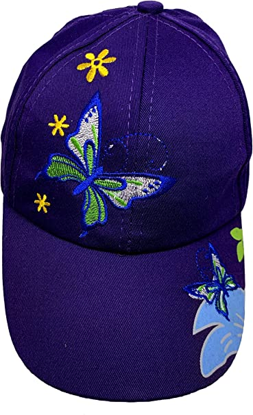Baseball Cap For Women With Butterflies And Flowers Embroidery Adjustable
