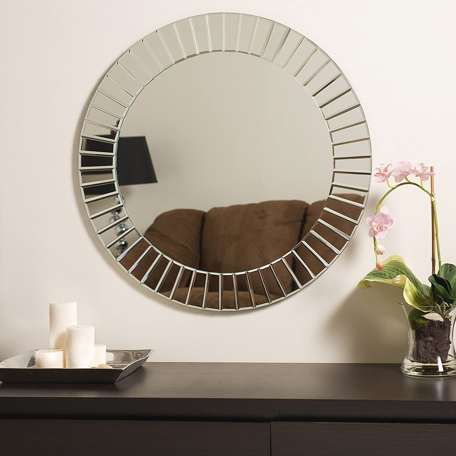 mirrors room brown beautiful sun shape decor living like in for round decorative art