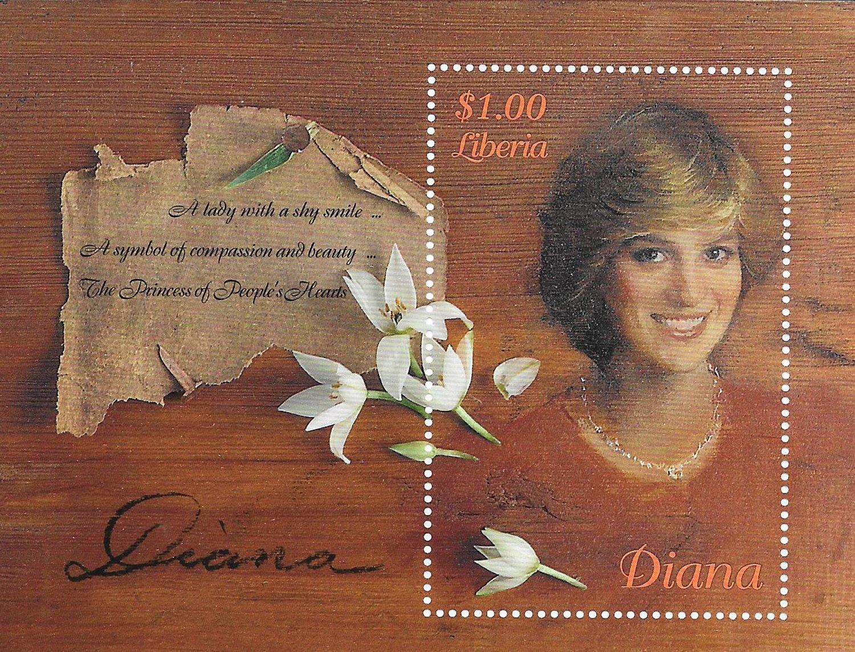 Francobolli da collezione –  Principessa Diana –  Principessa di Galles MNH unico timbro foglio/Liberia/ Stamps by Stampbank
