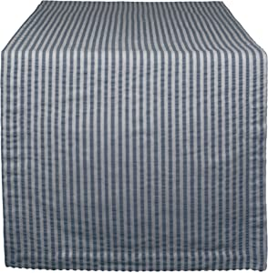 """DII Cotton Seersucker Striped Table Runner for Dinning Room, Entryway Weddings, Parties and Everyday Use, 14x108"""", French Blue and White"""