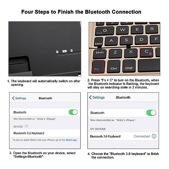 Amazon.com: iEGrow Foldable Bluetooth Keyboard, F18 Universal Portable Bluetooth 3.0 Wireless Keyboard with Kickstand Holder for Apple iPad iPhone iOS, ...