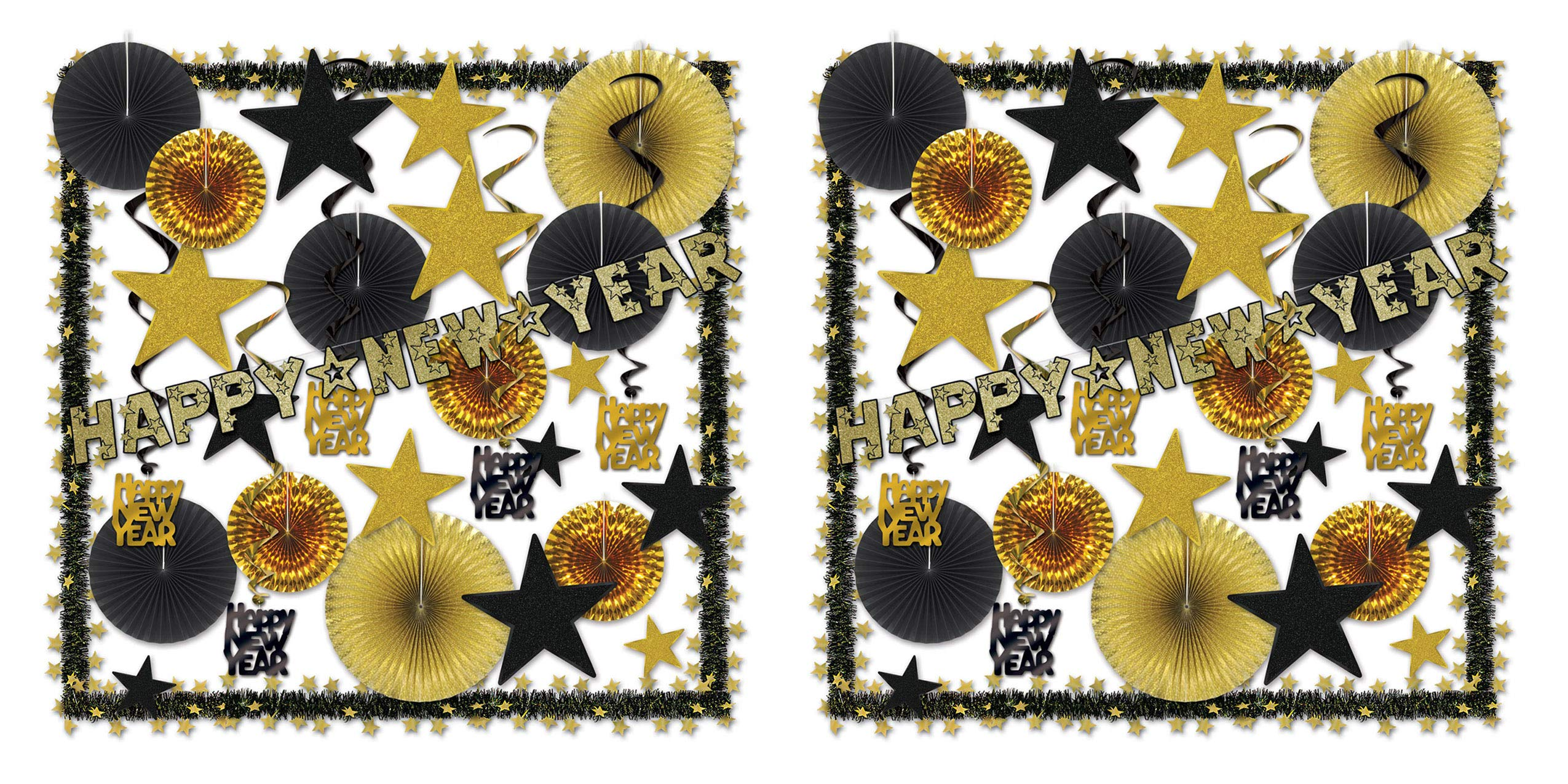Beistle 80888-GD Glistening Gold NY Decorating Kit (Pack of 2), Assorted Black