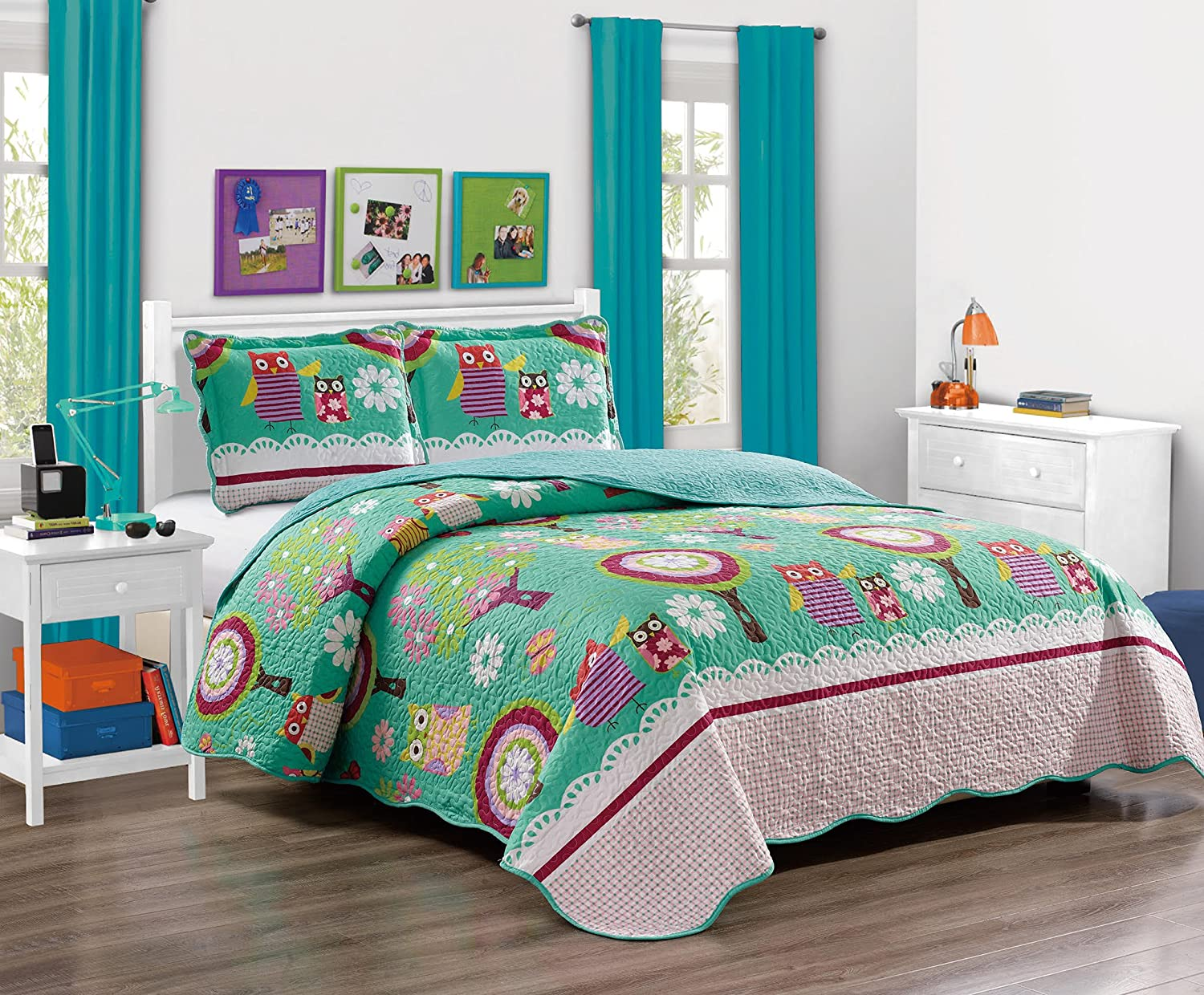 """Mk Collection Twin Size 2 Pc Bedspread Teens/girls Owl Teal Green Twin / Twin Extra Long 68""""x 90""""New"""