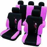 Cartrend 60260 Flower - Juego de fundas universales para asientos de coche (costuras de seguridad), color negro y rosa