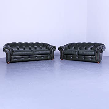 Chesterfield Leder Sofa Garnitur Grun Dreisitzer Couch Echtleder