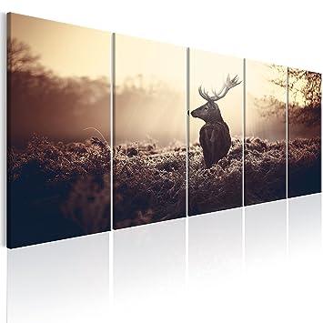murando - Bilder Hirsch 225x90 cm Vlies Leinwandbild 5 TLG ...