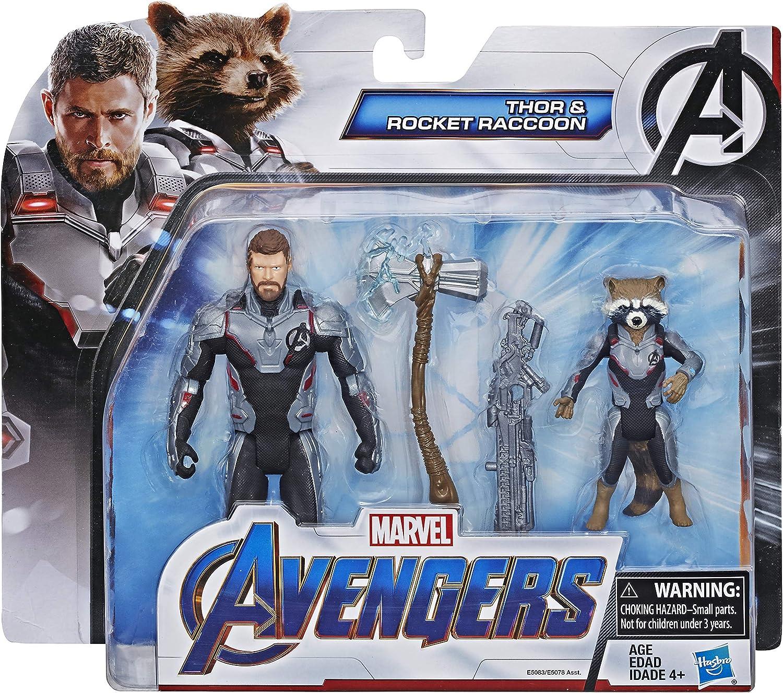 "Marvel Avengers Endgame 4 Thor /& Rocket Raccoon Hasbro 2 Pack 6"" Action Figures"
