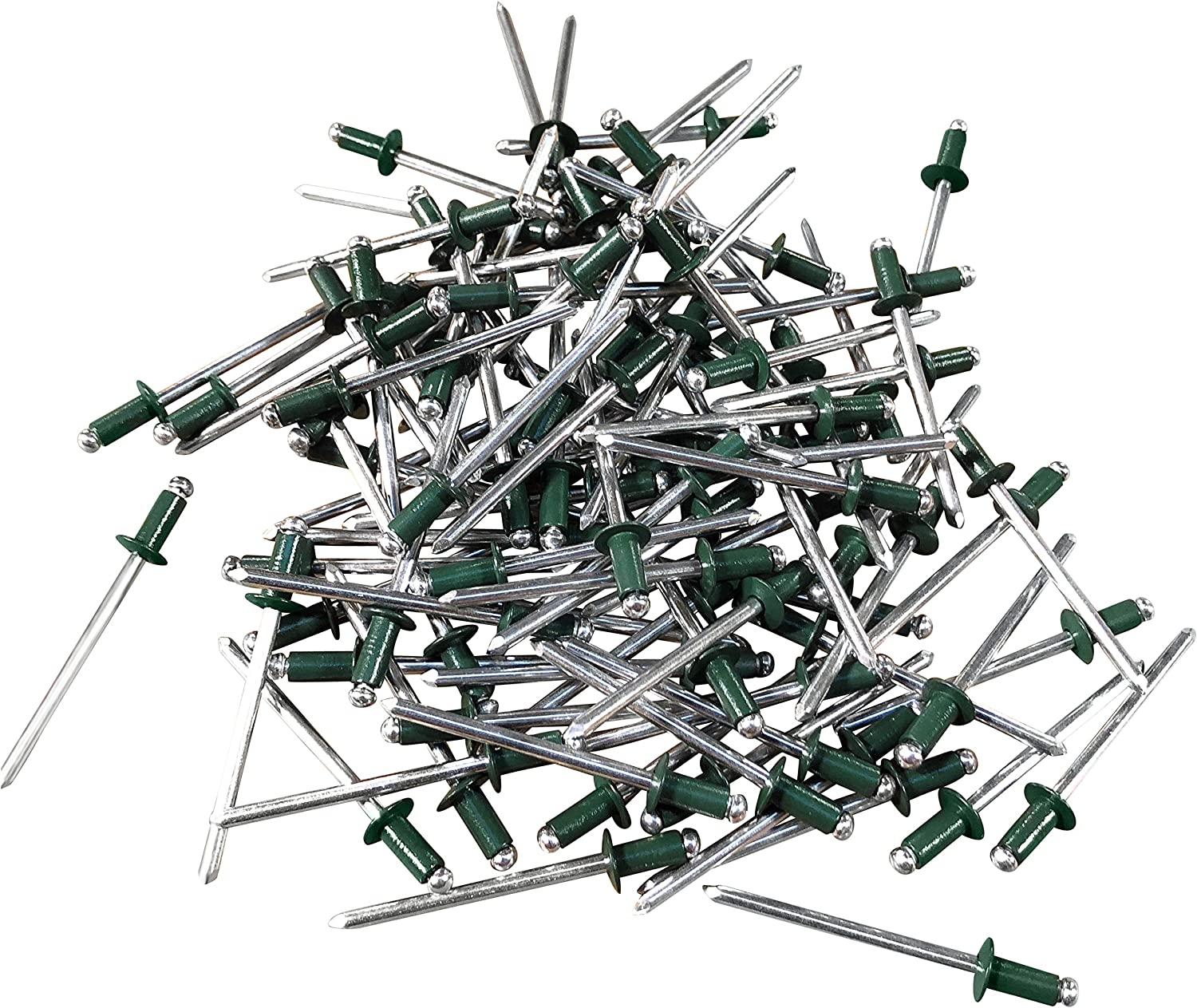 500 pcs, Green Eagle 1 Blind Aluminum Pop Rivets Many Colors With Free 1//8 drill bit included 1//8 x 1//4, 42 Gutter pop Rivets Blind Pop Rivets