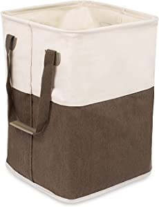 BIRDROCK HOME Square Cloth Laundry Hamper with Handles - Dirty Clothes Sorter - Easy Storage - Foldable - Brown and White Canvas