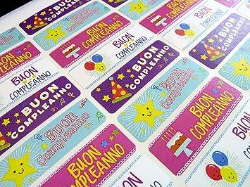 Carte Anniversaire Italien.Lot De 32 Buon Compleanno Italien D Anniversaire Stickers Colore