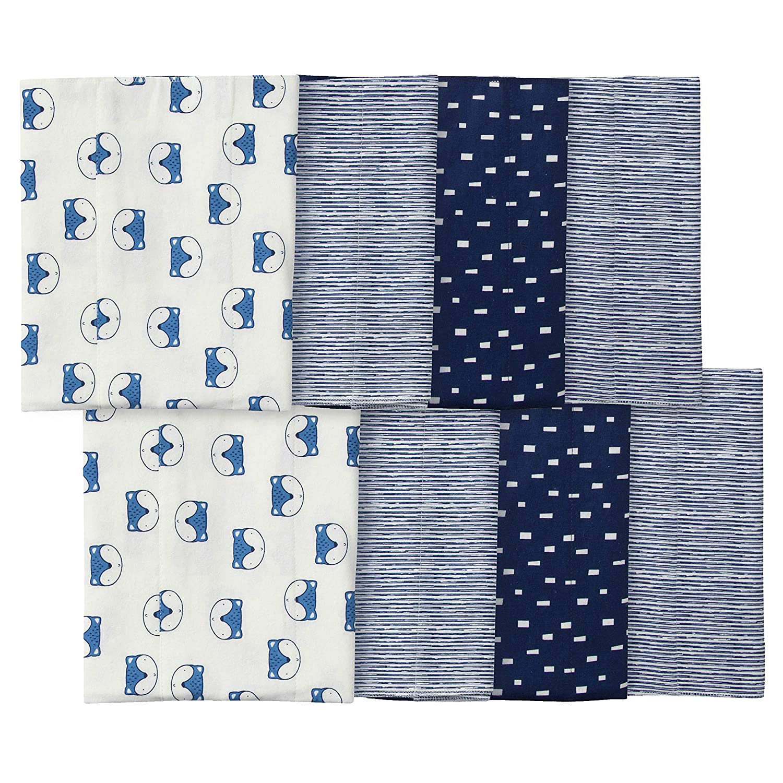 Gerber Baby Boys' 8-Pack Flannel Burp Cloths, Blue Fox, 20