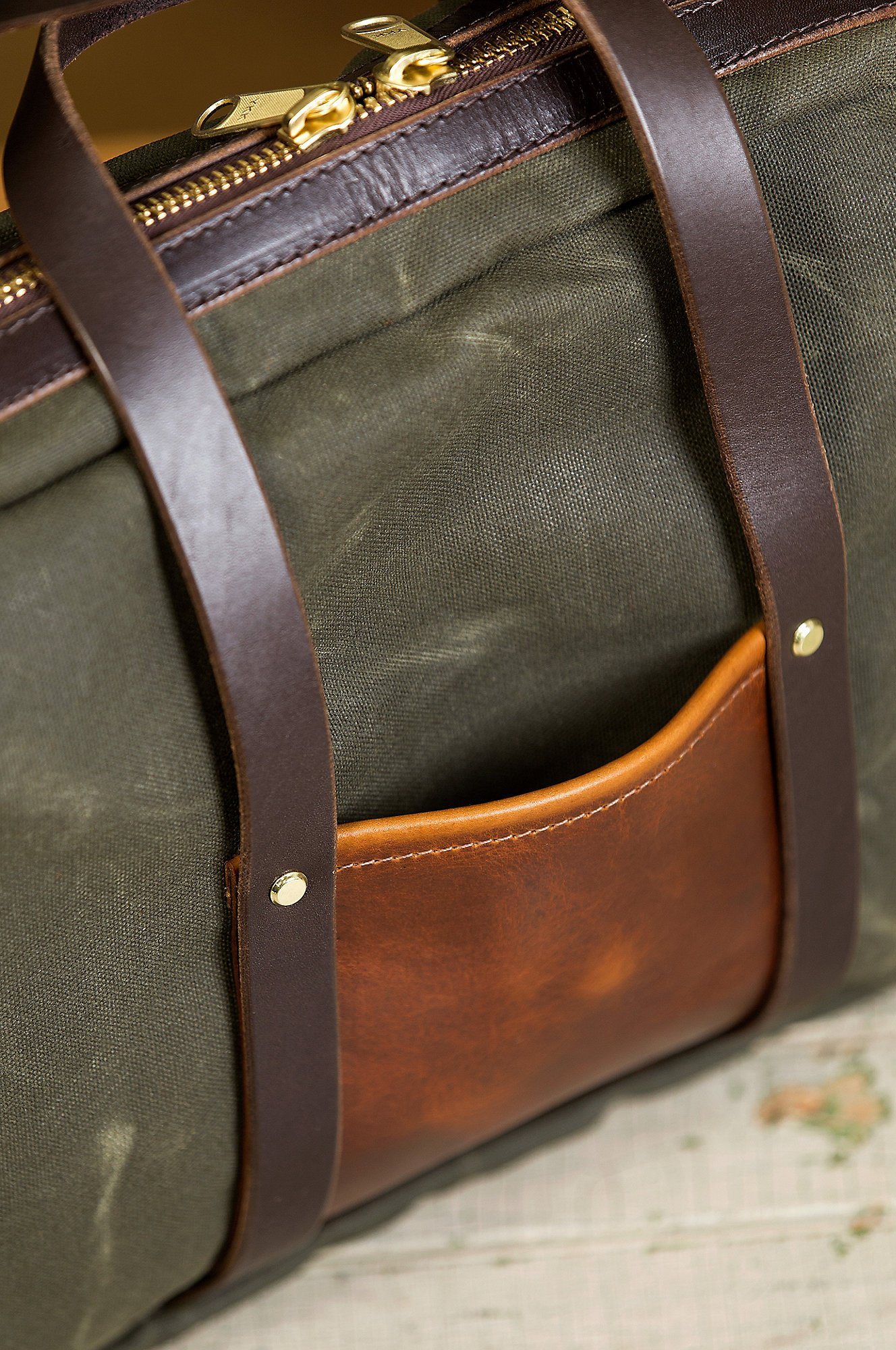 Heritage Canvas and American Bison Leather Briefcase by Overland Sheepskin Co (Image #6)