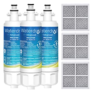 Waterdrop NSF 53&42 Certified Refrigerator Water Filter and Air Filter, Compatible with LG LT700P, ADQ36006101, ADQ36006102 and LT120F, Advanced, 3 combo