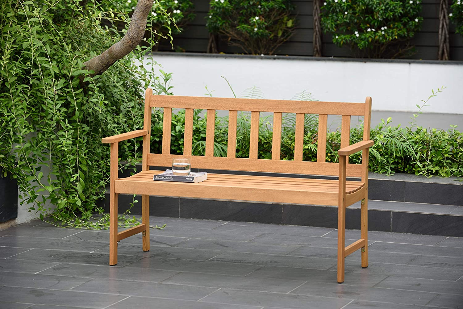 Amazonia Barcelona 2-Seat Patio Bench | Teak Finish | Durable and Ideal for Indoors and Outdoors, Light Brown