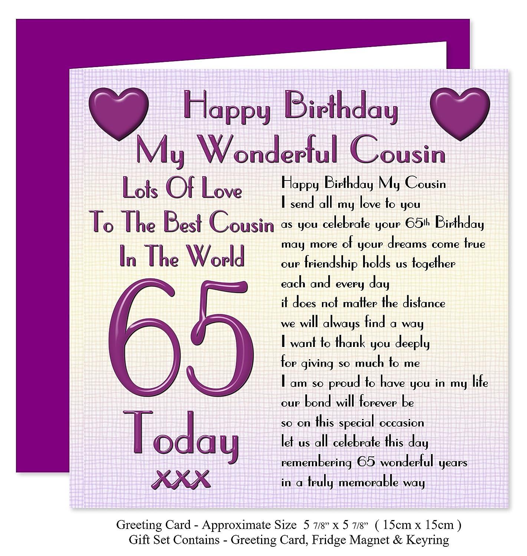 Cousin 65th Happy Birthday Gift Set Card Keyring Fridge Magnet