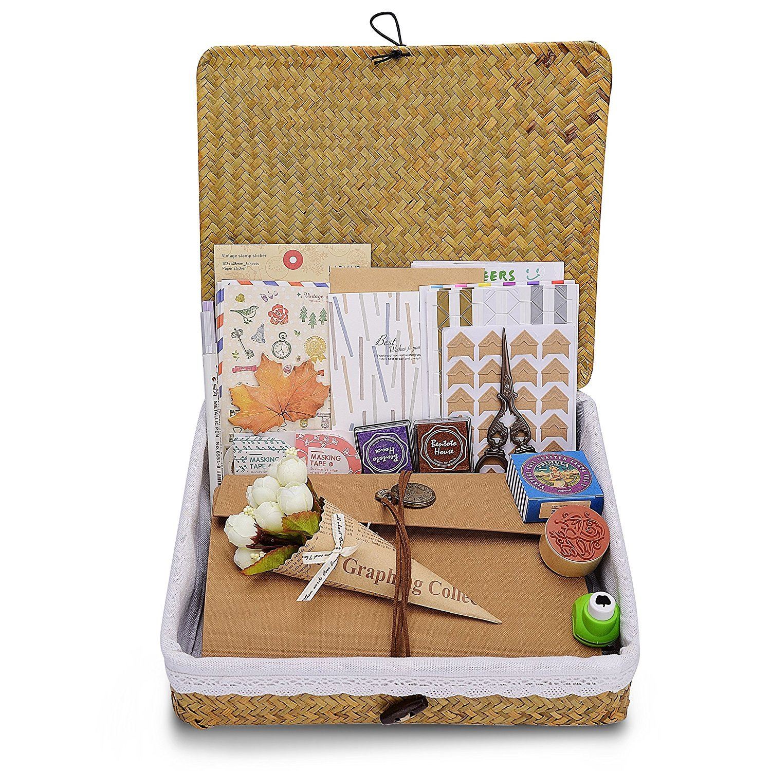 Scrapbook with 100% Handcrafted Rattan Photo Album Storage Box, DIY Anniversary, Wedding Photo Album, with DIY Accessories Kit