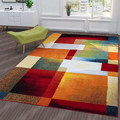 Ottomanson City Collection Modern Area Rug Contemporary Sculpted Effect Abstract Multi-Color Rug-5×7 5'3″ X 7'3″