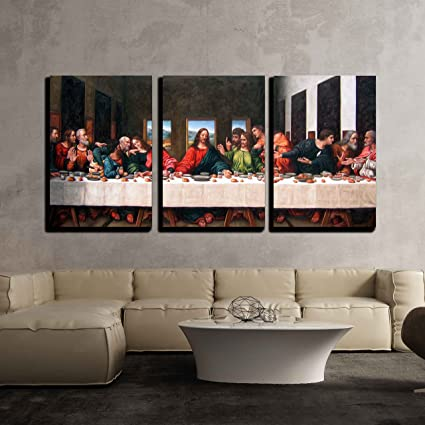 Amazon.com: wall26 3 Piece Canvas Wall Art - the Last Supper by ...