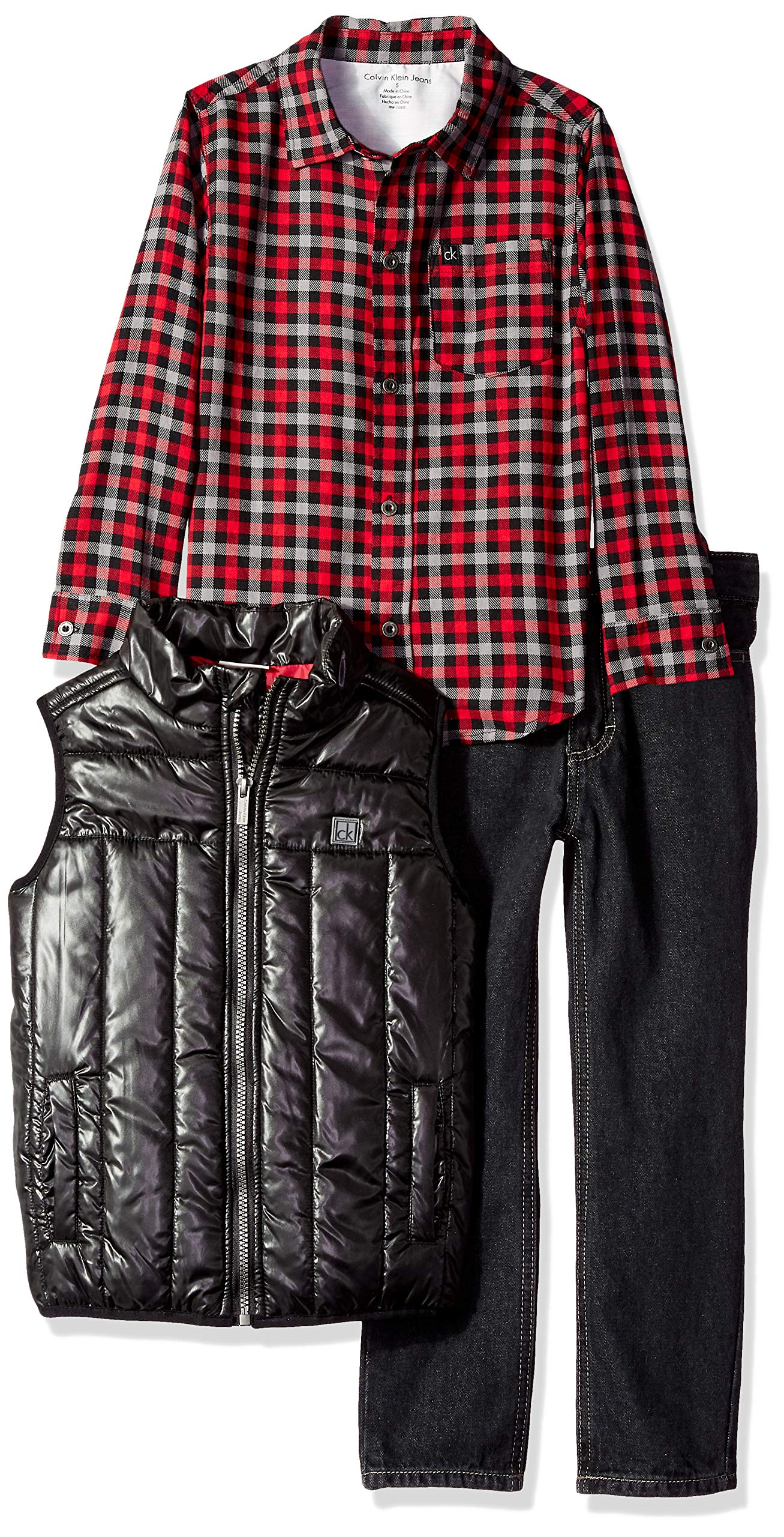 Calvin Klein Boys' Little 3 Pieces Vest Set-Shirt, red/Black, 6
