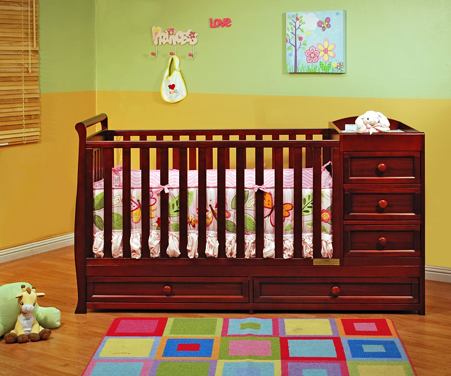 in i cribs and convertible sets white combo shipping changer free nursery changing drawers fashionable graco baby table with crib