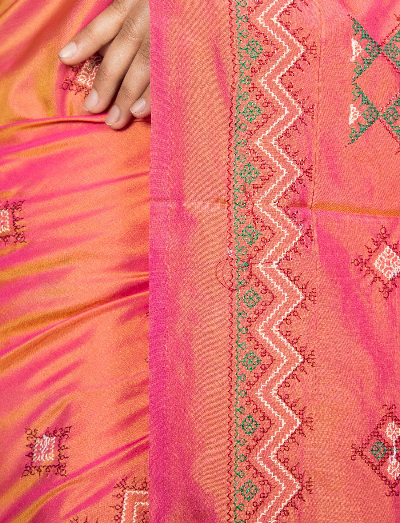 Mandakini Women's Tassar Silk Kasuti Saree (MK561_Orange Pink) by Mandakini (Image #3)