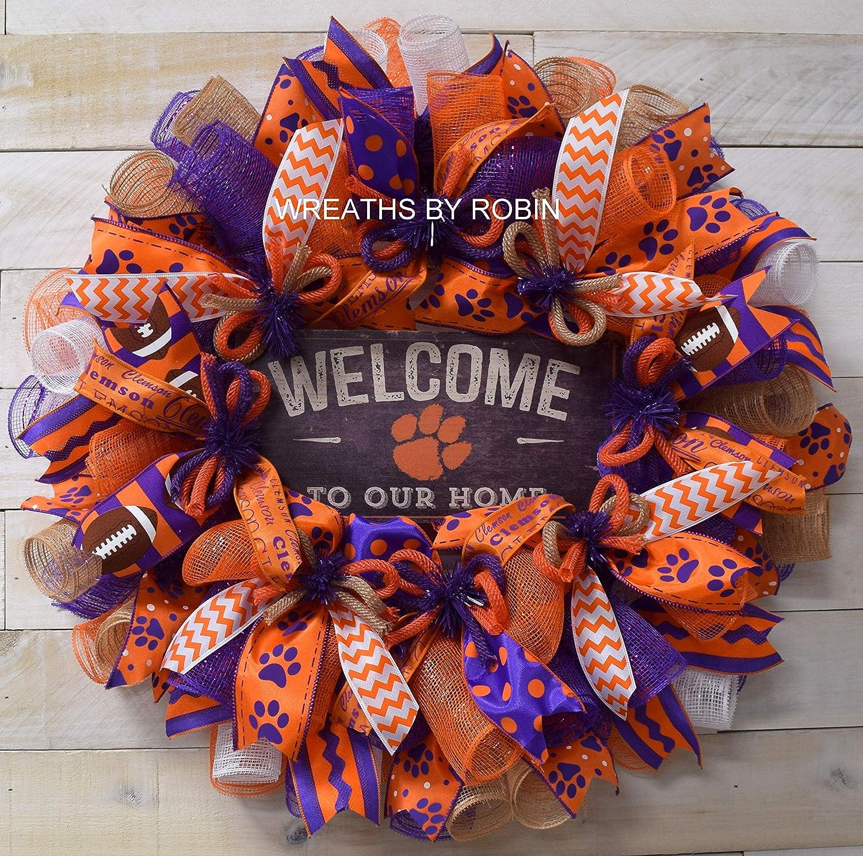 Clemson inspired Sports Wreath College Wreaths 4102