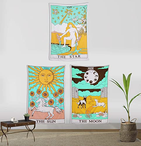 Madhu International Cotton Tarot Flag Tapestry The Moon The Sun The Star Medieval Europe Divination Mysterious Hippie Tapestries – Wall Hanging, Room Decor Pack of 3, 54×80 inch, Sun Moon Star