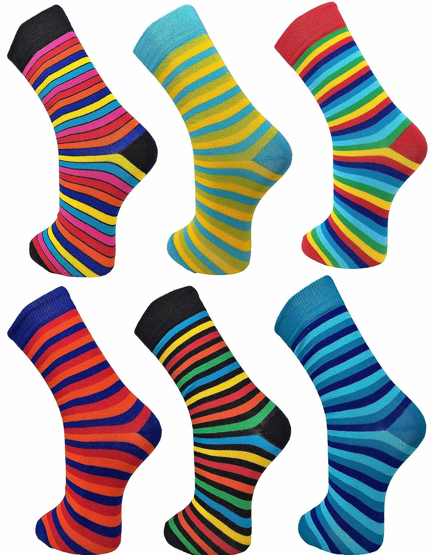 Ayra - 6 Pairs of Mens Bright VIBRANT Odd Stripes Socks