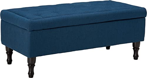 Constance Tufted Top Fabric Storage Ottoman Navy Blue
