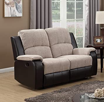 SC Furniture Ltd Beige/Brown Reclining Fabric Material 2 Seater Recliner  Sofa Suite PASCARA (