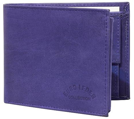 37addd9977f43 Preiswerte Herren Geldbörse aus Leder Portemonnaie Brieftasche aus Echtleder  Herren Echtleder Geldbeutel in Blau Marinblau Querformat