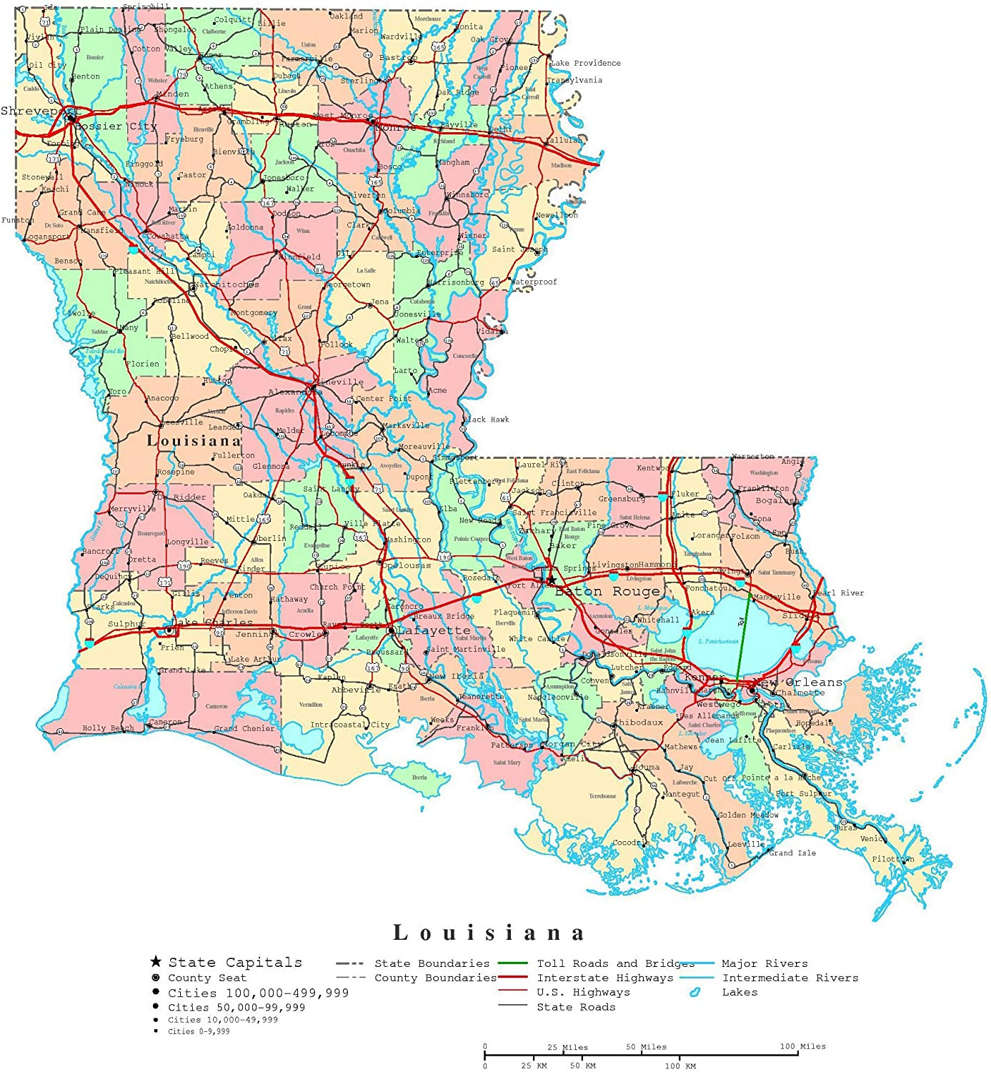 map of the state of louisiana Amazon Com Home Comforts Large Detailed Administrative Map Of map of the state of louisiana