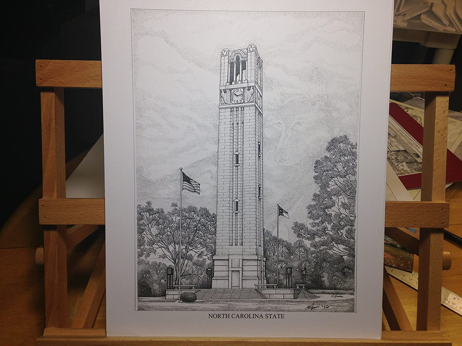 North Carolina State - Bell Tower 11x14 pen and ink print