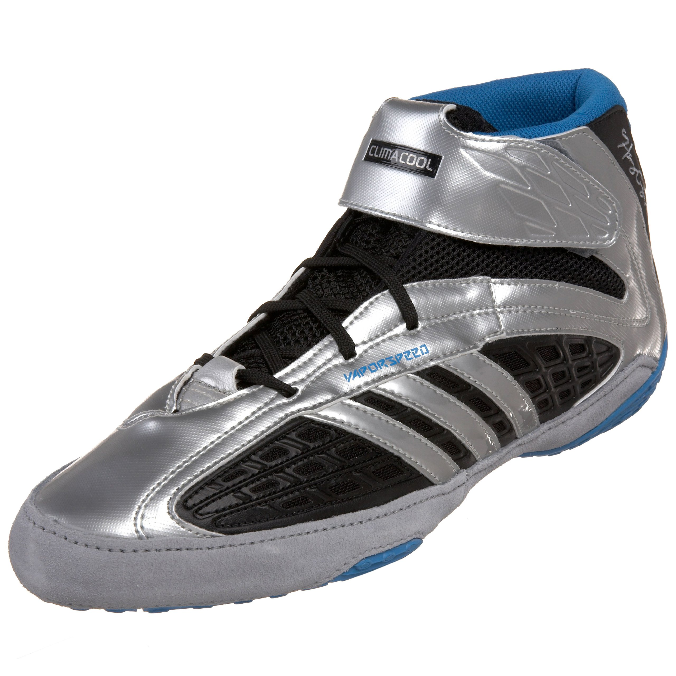 adidas Men's Vaporspeed II Henry Cejudo Wrestling Shoe,Black/Silver/Pool,12 M US by adidas