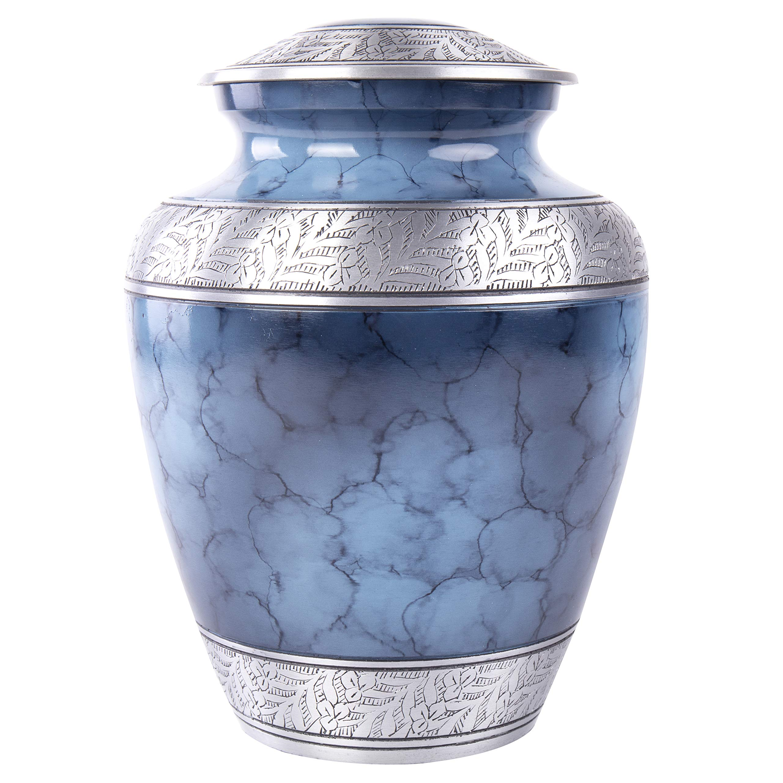 GSM Brands Cremation Urn Holds Adult Human Ashes - Large Handcrafted Funeral Memorial with Striking Blue Design (Aluminum - 10 Inch Height x 8 Inch Width)
