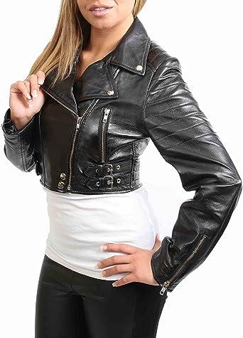 Damen Kurz geschnitten Kurz Länge Lederjacke Slim Fit Biker